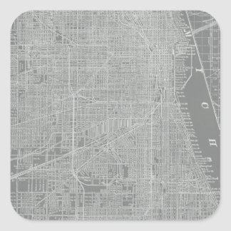 Sketch of Chicago City Map Square Sticker