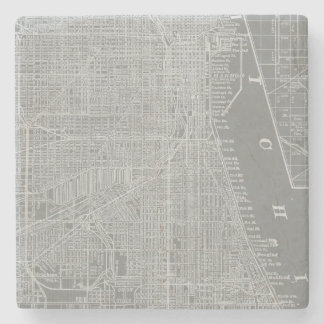 Sketch of Chicago City Map Stone Coaster