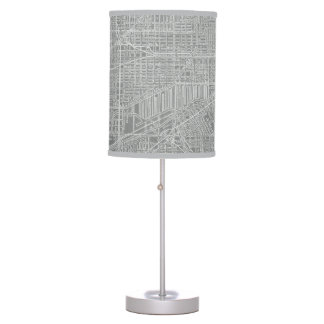 Sketch of Chicago City Map Table Lamp