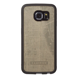Sketch of Chicago City Map Wood Phone Case