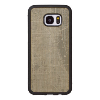 Sketch of Chicago City Map Wood Samsung Galaxy S7 Edge Case