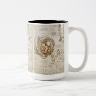 Sketch of Fetus by Leonardo Da Vinci Two-Tone Coffee Mug