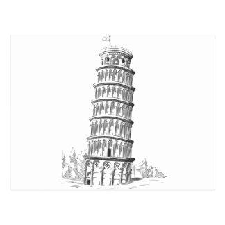 Sketch of Italy Landmark - Leaning Tower of Pisa Postcard