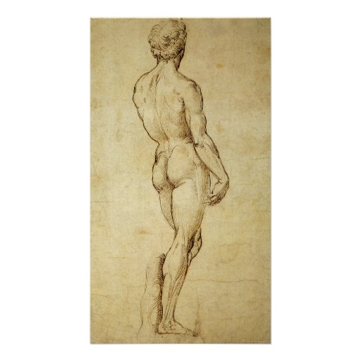 Sketch of Michelangelo's David Statue by Raphael Poster