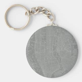 Sketch of New York City Map Basic Round Button Keychain