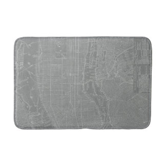 Sketch of New York City Map Bathroom Mat