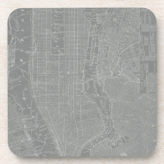 Sketch of New York City Map Drink Coasters