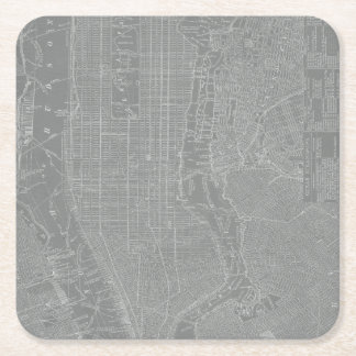 Sketch of New York City Map Square Paper Coaster