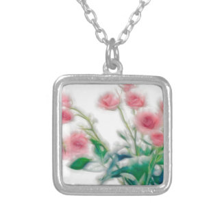 Sketch of Rose Bouquet Silver Plated Necklace
