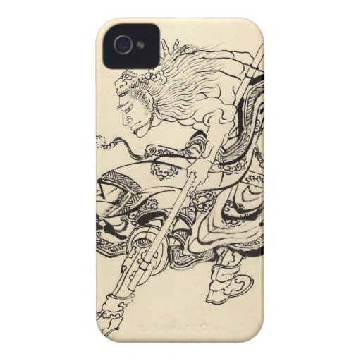 Sketch of Samurai Warrior with lion mask Hokusai iPhone 4 Cover