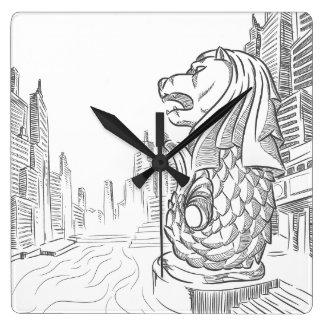 Sketch of Singapore Tourism Landmark - Merlion Wallclocks