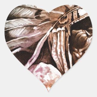 Sketch of tattoo art, indian head heart sticker