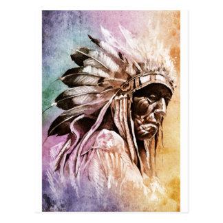 Sketch of tattoo art, indian head postcard