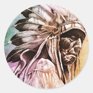 Sketch of tattoo art, indian head round sticker