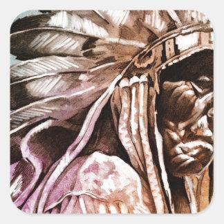Sketch of tattoo art, indian head square sticker
