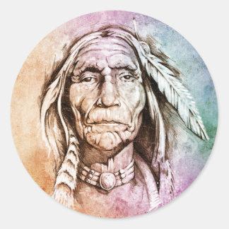 Sketch of tattoo art, portrait of American Indian Round Sticker