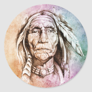Sketch of tattoo art, portrait of American Indian Stickers