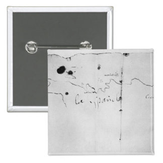 Sketch of the coast of Espanola, 2 Inch Square Button