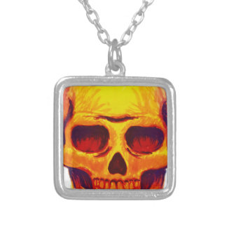 Sketch Skull Silver Plated Necklace