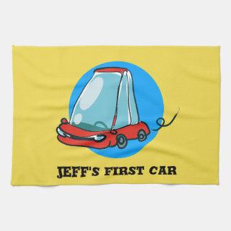 sketch style sweet cartoon car illustration kitchen towel