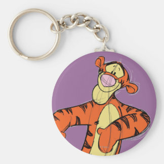 Sketch Tigger Basic Round Button Keychain