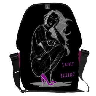 Sketch with chalk messenger bag