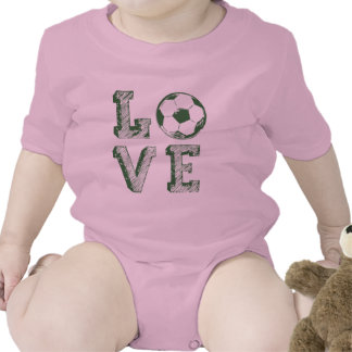 Sketched and painted Love soccer Rompers