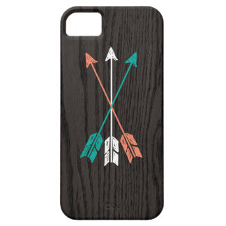 Sketched Arrows On Woodgrain iPhone 5 Case