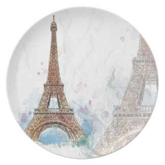 Sketched colored eiffel tower paris good idea dinner plate