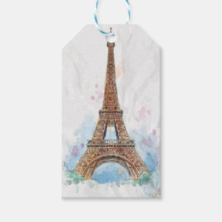 Sketched colored eiffel tower paris good idea gift tags