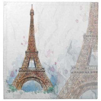Sketched colored eiffel tower paris good idea napkin