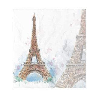 Sketched colored eiffel tower paris good idea notepad