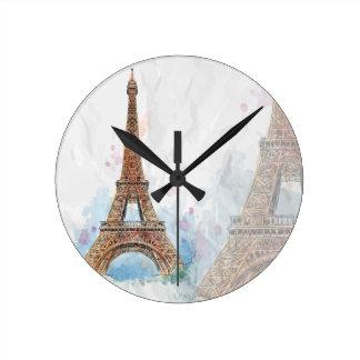 Sketched colored eiffel tower paris good idea round clock