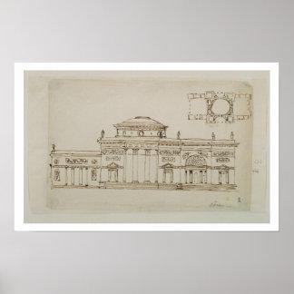 Sketched design for a domed building (pen & ink) print