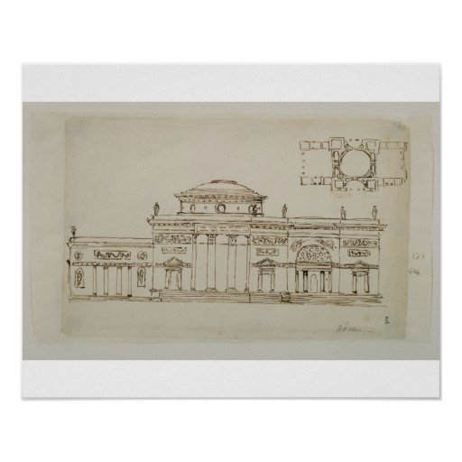 Sketched design for a domed building (pen & ink) poster
