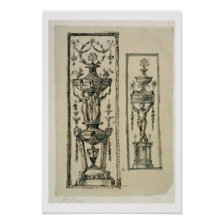 Sketched designs for ornate panels (pen & ink and print