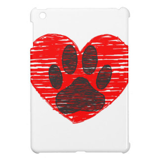 Sketched Dog Paw In Red Heart iPad Mini Covers
