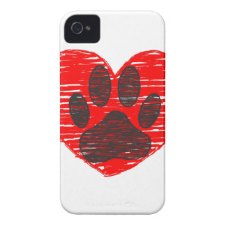 Sketched Dog Paw In Red Heart iPhone 4 Cover