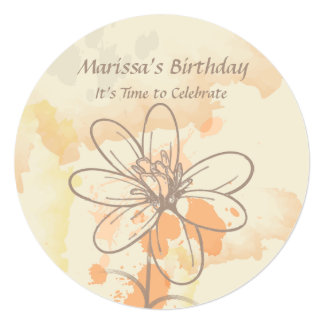 "Sketched Floral on Watercolor Splats Birthday 5.25"" Square Invitation Card"