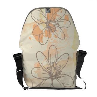 Sketched Floral on Watercolor Splats Courier Bag