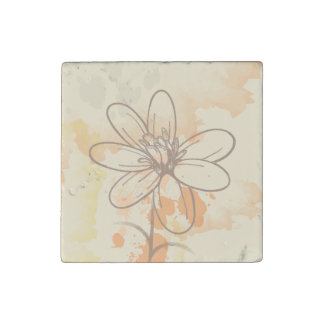 Sketched Floral on Watercolor Splats Stone Magnets