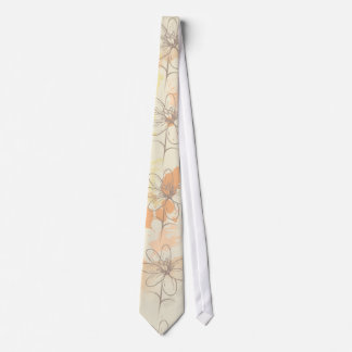 Sketched Floral on Watercolor Splats Tie