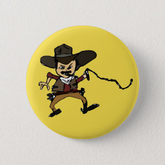 sketched smoking cowboy 2 inch round button