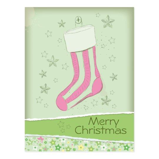 sketched stocking Pink Christmas Postcard