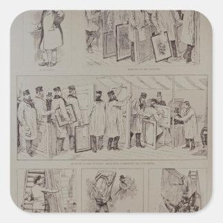 Sketches at the Paris Salon Square Sticker