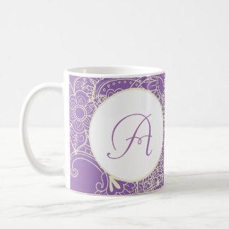 Sketches Nature Paisley Violet Monogram Coffee Mug