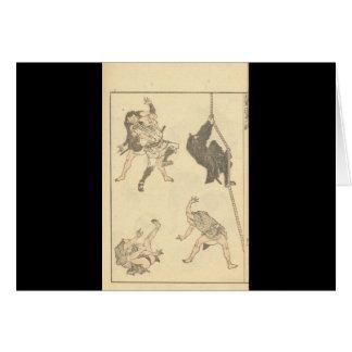 Sketches of Japanese Martial arts, Ninja c. 1800's Card