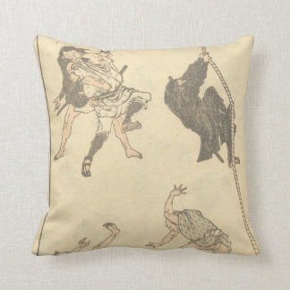Sketches of Japanese Martial arts, Ninja c. 1800's Throw Pillow