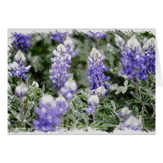 Sketchlike Design for Texas Bluebonnets Card