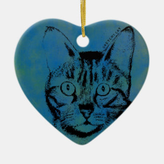 Sketchy Cat on Blue Ceramic Heart Ornament